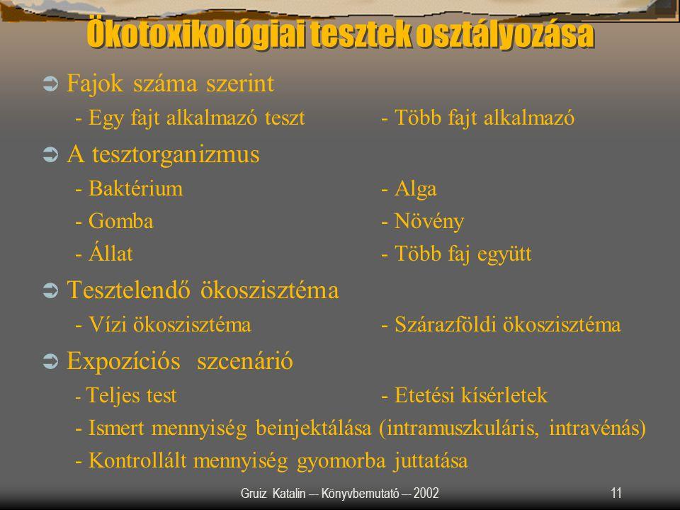 Gruiz Katalin –- Könyvbemutató –- 200211 Ökotoxikológiai tesztek osztályozása  Fajok száma szerint - Egy fajt alkalmazó teszt- Több fajt alkalmazó 