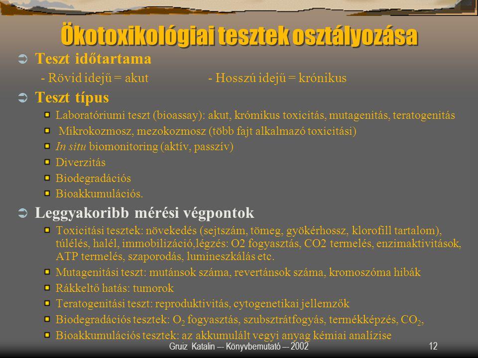 Gruiz Katalin –- Könyvbemutató –- 200212 Ökotoxikológiai tesztek osztályozása  Teszt időtartama - Rövid idejű = akut- Hosszú idejű = krónikus  Teszt
