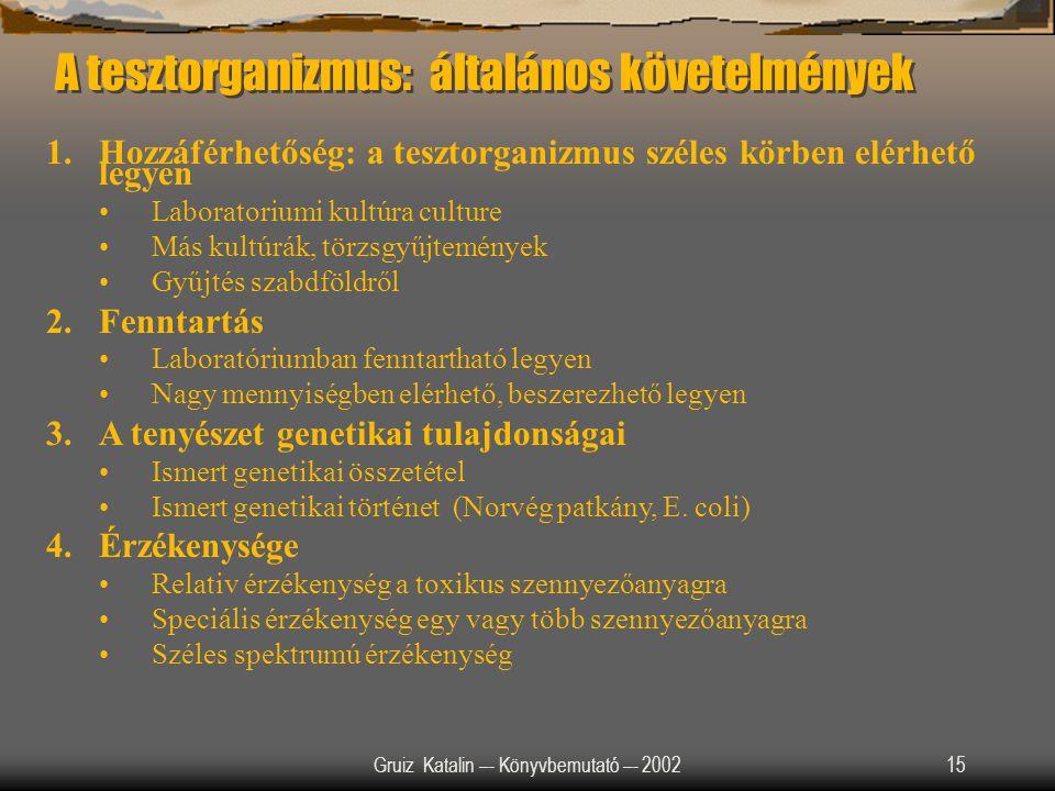 Gruiz Katalin –- Könyvbemutató –- 200215 A tesztorganizmus: általános követelmények 1.Hozzáférhetőség: a tesztorganizmus széles körben elérhető legyen