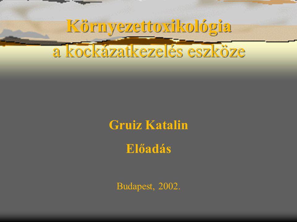 Gruiz Katalin –- Könyvbemutató –- 20023 A környezettoxikológia helye és szerepe  A környezettoxikológia a vegyi anyagoknak az ökológiai rendszerek szerkezetére és funkciójára gyakorolt hatását vizsgálja.