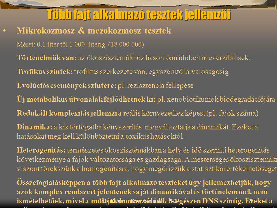 Gruiz Katalin –- Könyvbemutató –- 200228 Több fajt alkalmazó tesztek jellemzői Mikrokozmosz & mezokozmosz tesztek Méret: 0.1 liter től 1 000 literig (