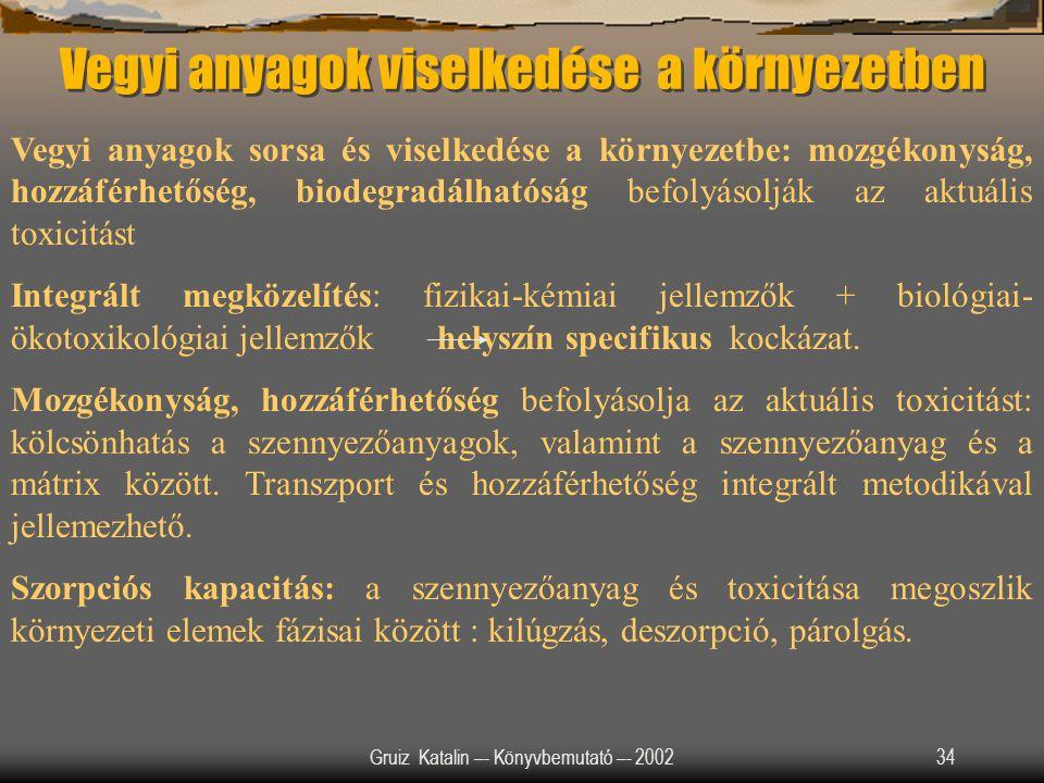Gruiz Katalin –- Könyvbemutató –- 200234 Vegyi anyagok viselkedése a környezetben Vegyi anyagok sorsa és viselkedése a környezetbe: mozgékonyság, hozz