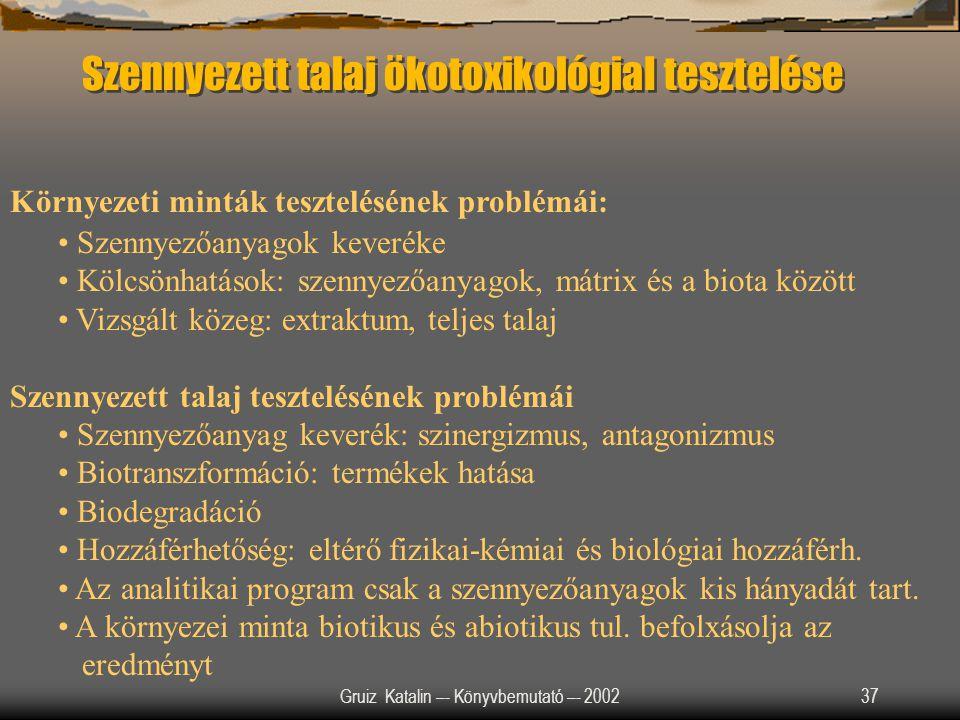 Gruiz Katalin –- Könyvbemutató –- 200237 Szennyezett talaj ökotoxikológiaI tesztelése Környezeti minták tesztelésének problémái: Szennyezőanyagok keve