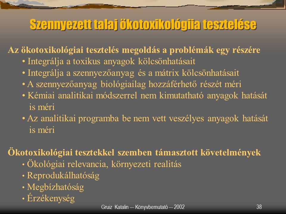 Gruiz Katalin –- Könyvbemutató –- 200238 Szennyezett talaj ökotoxikológiia tesztelése Az ökotoxikológiai tesztelés megoldás a problémák egy részére In