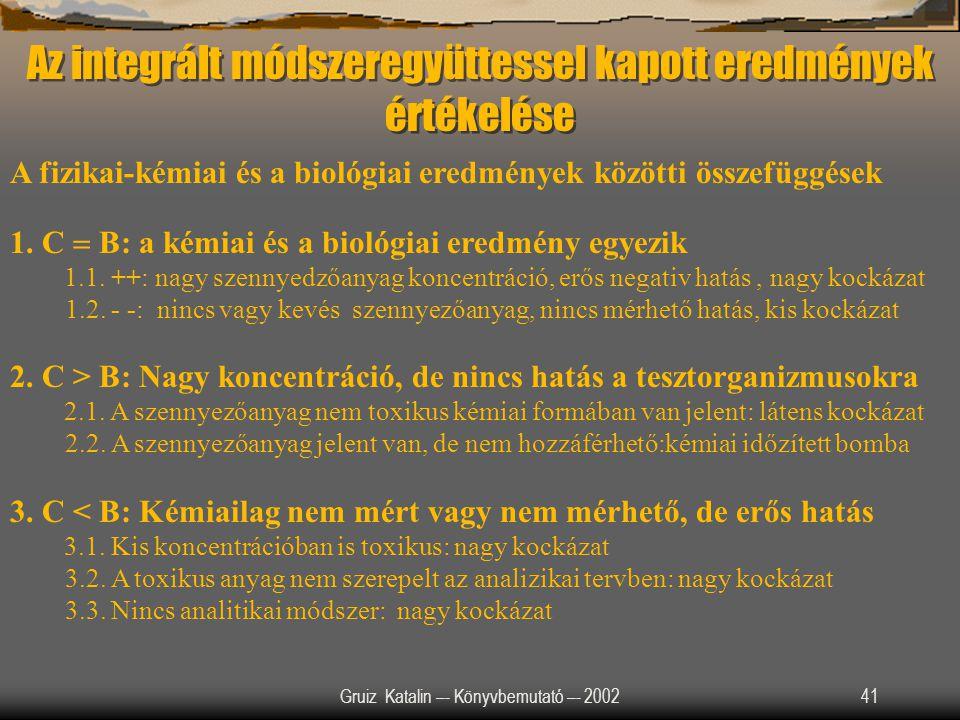 Gruiz Katalin –- Könyvbemutató –- 200241 Az integrált módszeregyüttessel kapott eredmények értékelése A fizikai-kémiai és a biológiai eredmények közöt