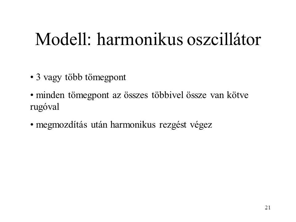 Modell: harmonikus oszcillátor 3 vagy több tömegpont minden tömegpont az összes többivel össze van kötve rugóval megmozdítás után harmonikus rezgést végez 21