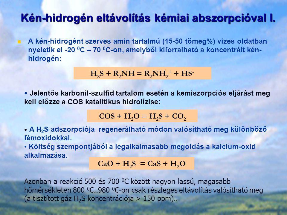 Kén-hidrogén eltávolítás kémiai abszorpcióval I. A kén-hidrogént szerves amin tartalmú (15-50 tömeg%) vizes oldatban nyeletik el -20 0 C – 70 0 C-on,
