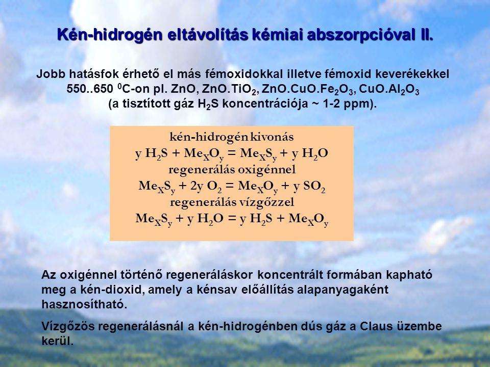 Kén-hidrogén eltávolítás kémiai abszorpcióval II. kén-hidrogén kivonás y H 2 S + Me X O y = Me X S y + y H 2 O regenerálás oxigénnel Me X S y + 2y O 2