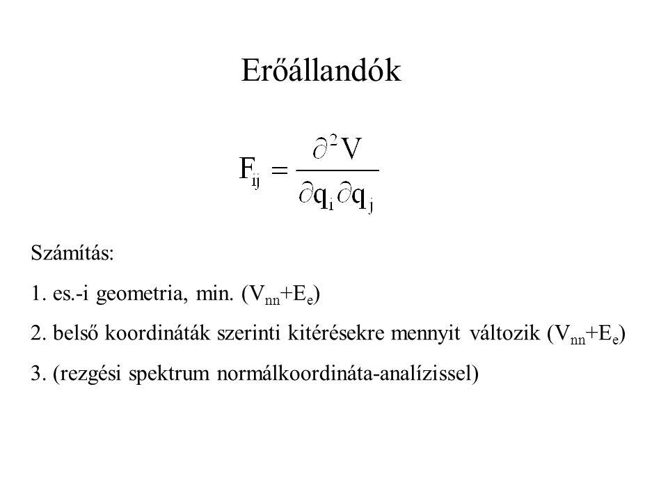 Erőállandók Számítás: 1. es.-i geometria, min. (V nn +E e ) 2. belső koordináták szerinti kitérésekre mennyit változik (V nn +E e ) 3. (rezgési spektr
