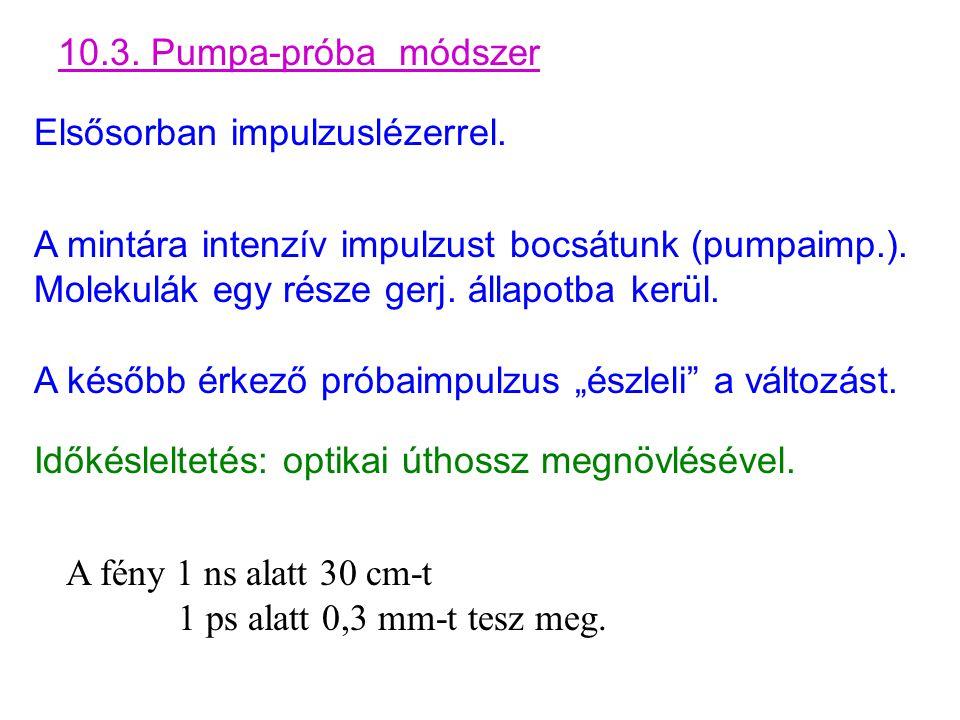 10.3. Pumpa-próba módszer Elsősorban impulzuslézerrel. A mintára intenzív impulzust bocsátunk (pumpaimp.). Molekulák egy része gerj. állapotba kerül.