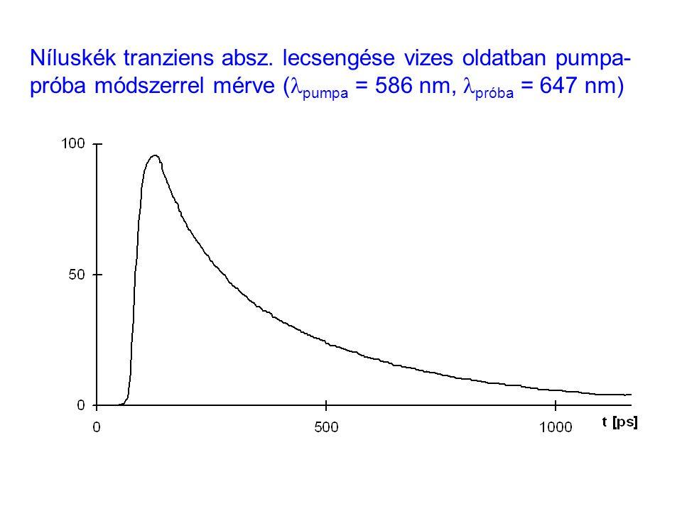 Níluskék tranziens absz. lecsengése vizes oldatban pumpa- próba módszerrel mérve ( pumpa = 586 nm, próba = 647 nm)