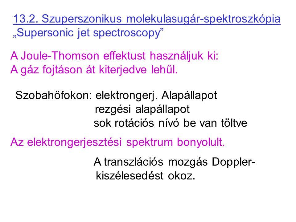 """13.2. Szuperszonikus molekulasugár-spektroszkópia """"Supersonic jet spectroscopy"""" A Joule-Thomson effektust használjuk ki: A gáz fojtáson át kiterjedve"""