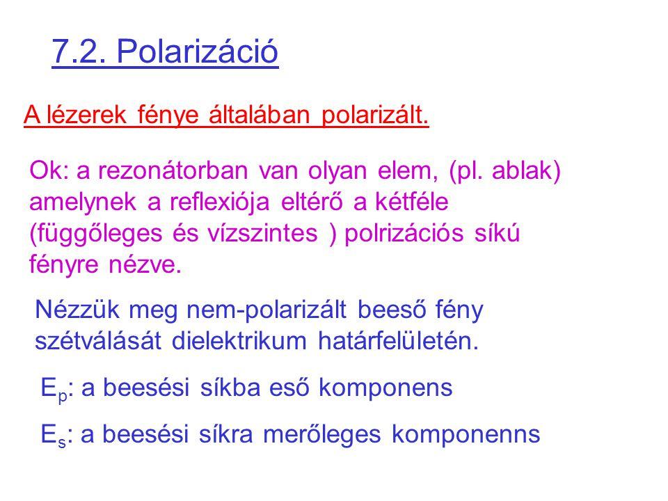 7.2. Polarizáció A lézerek fénye általában polarizált. Ok: a rezonátorban van olyan elem, (pl. ablak) amelynek a reflexiója eltérő a kétféle (függőleg
