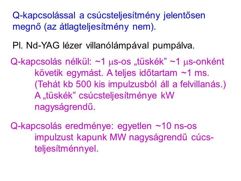 Q-kapcsolással a csúcsteljesítmény jelentősen megnő (az átlagteljesítmény nem). Pl. Nd-YAG lézer villanólámpával pumpálva. Q-kapcsolás nélkül: ~1  s-