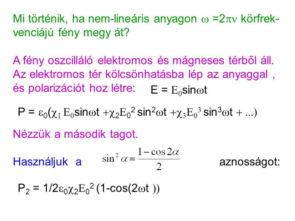 Mi történik, ha nem-lineáris anyagon  =2  körfrek- venciájú fény megy át? P =  0 (     sin  t  2 E 0 2 sin 2  t  3 E 0 3 sin 3  t 