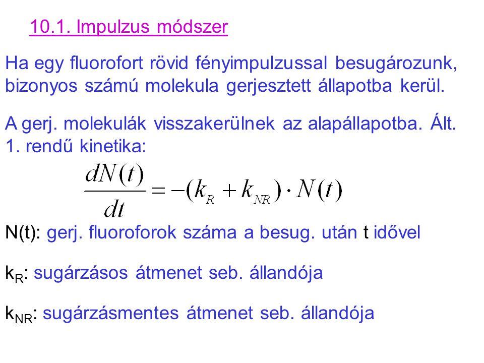 10.1. Impulzus módszer Ha egy fluorofort rövid fényimpulzussal besugározunk, bizonyos számú molekula gerjesztett állapotba kerül. A gerj. molekulák vi