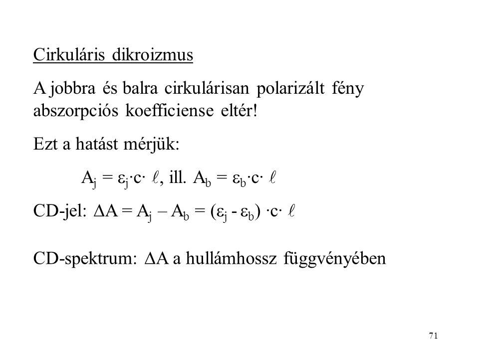 71 Cirkuláris dikroizmus A jobbra és balra cirkulárisan polarizált fény abszorpciós koefficiense eltér! Ezt a hatást mérjük: A j =  j ·c·, ill. A b =
