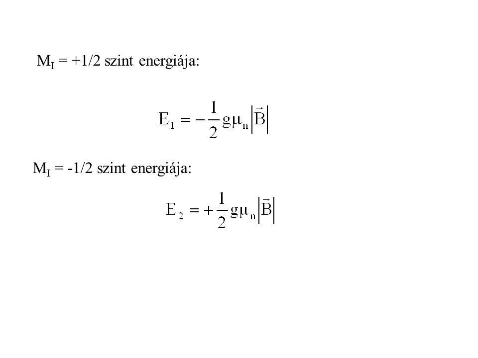 M I = +1/2 szint energiája: M I = -1/2 szint energiája: