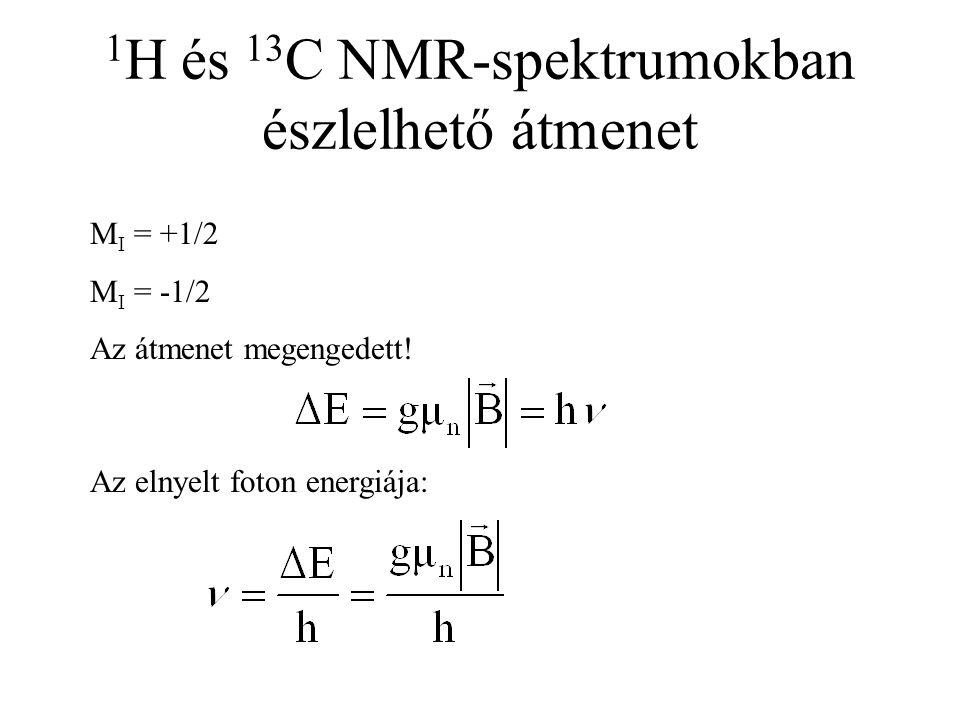 1 H és 13 C NMR-spektrumokban észlelhető átmenet M I = +1/2 M I = -1/2 Az átmenet megengedett! Az elnyelt foton energiája: