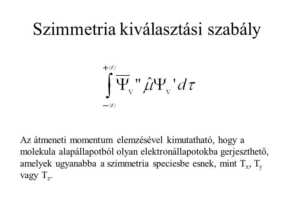 Kiválasztási szabályok Spin kiválasztási szabály:  S = 0, azaz