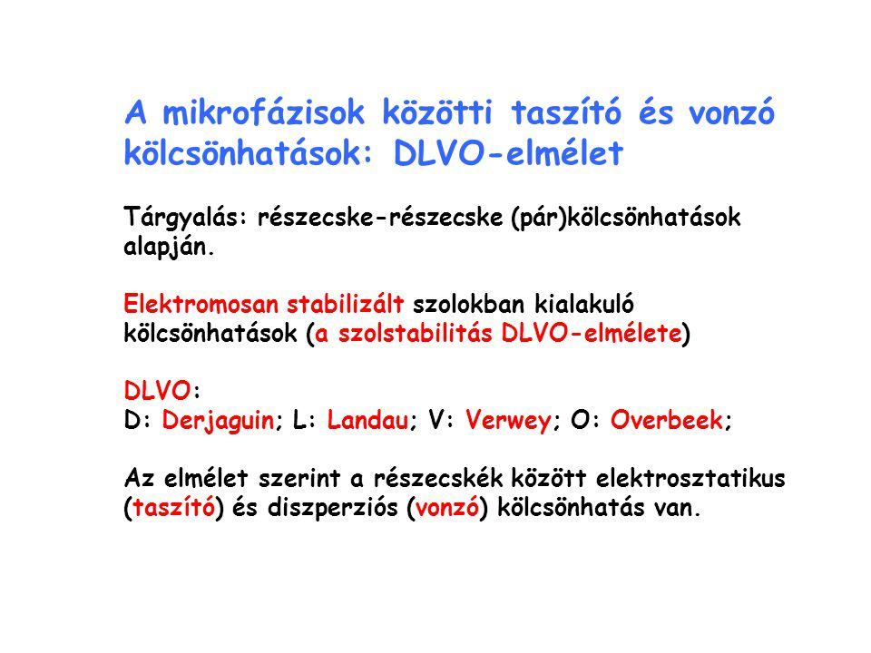A mikrofázisok közötti taszító és vonzó kölcsönhatások: DLVO-elmélet Tárgyalás: részecske-részecske (pár)kölcsönhatások alapján. Elektromosan stabiliz