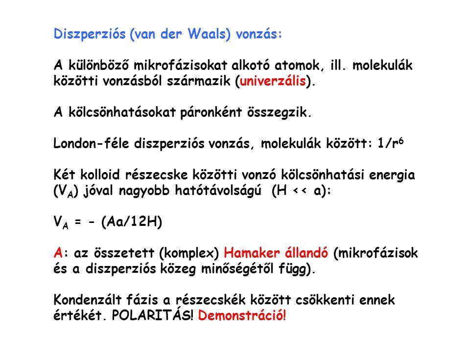 Diszperziós (van der Waals) vonzás: A különböző mikrofázisokat alkotó atomok, ill. molekulák közötti vonzásból származik (univerzális). A kölcsönhatás