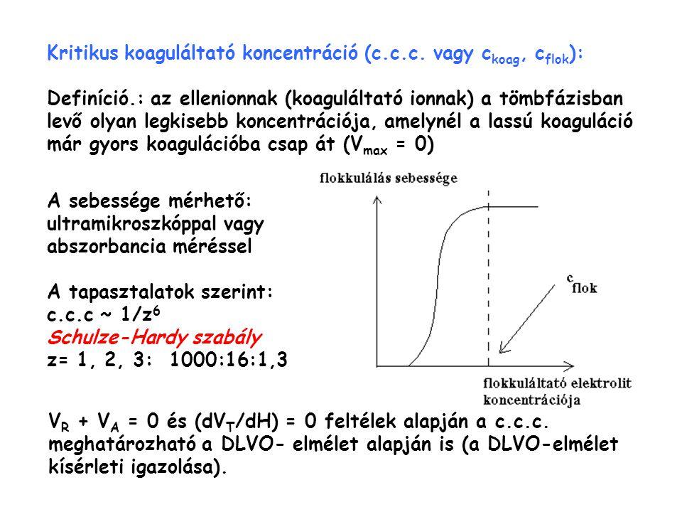 Kritikus koaguláltató koncentráció (c.c.c. vagy c koag, c flok ): Definíció.: az ellenionnak (koaguláltató ionnak) a tömbfázisban levő olyan legkisebb