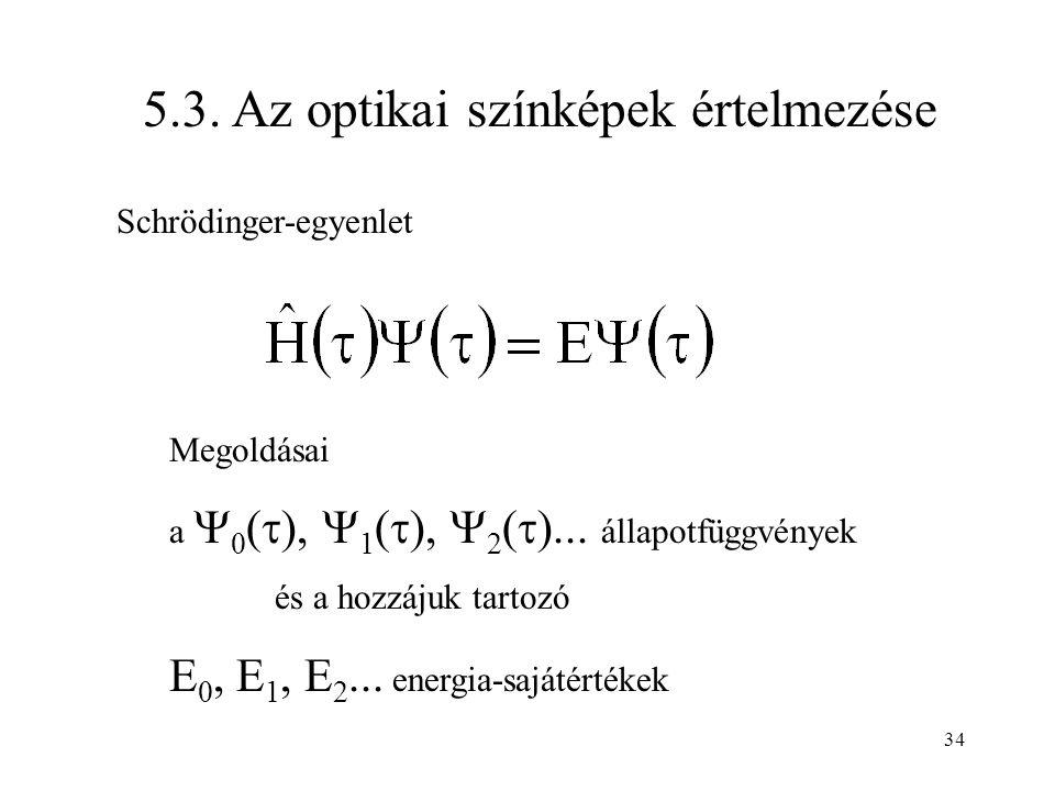 5.3. Az optikai színképek értelmezése Megoldásai a  0 (  ),  1 (  ),  2 (  )... állapotfüggvények és a hozzájuk tartozó E 0, E 1, E 2... energia