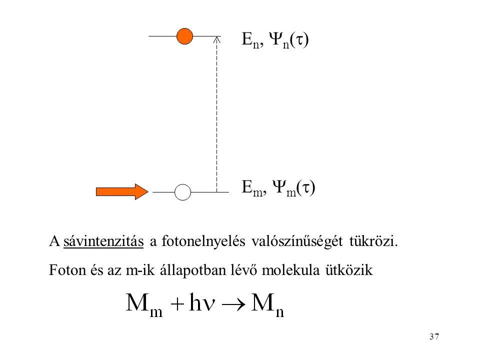 A sávintenzitás a fotonelnyelés valószínűségét tükrözi. Foton és az m-ik állapotban lévő molekula ütközik E m,  m (  ) E n,  n (  ) 37
