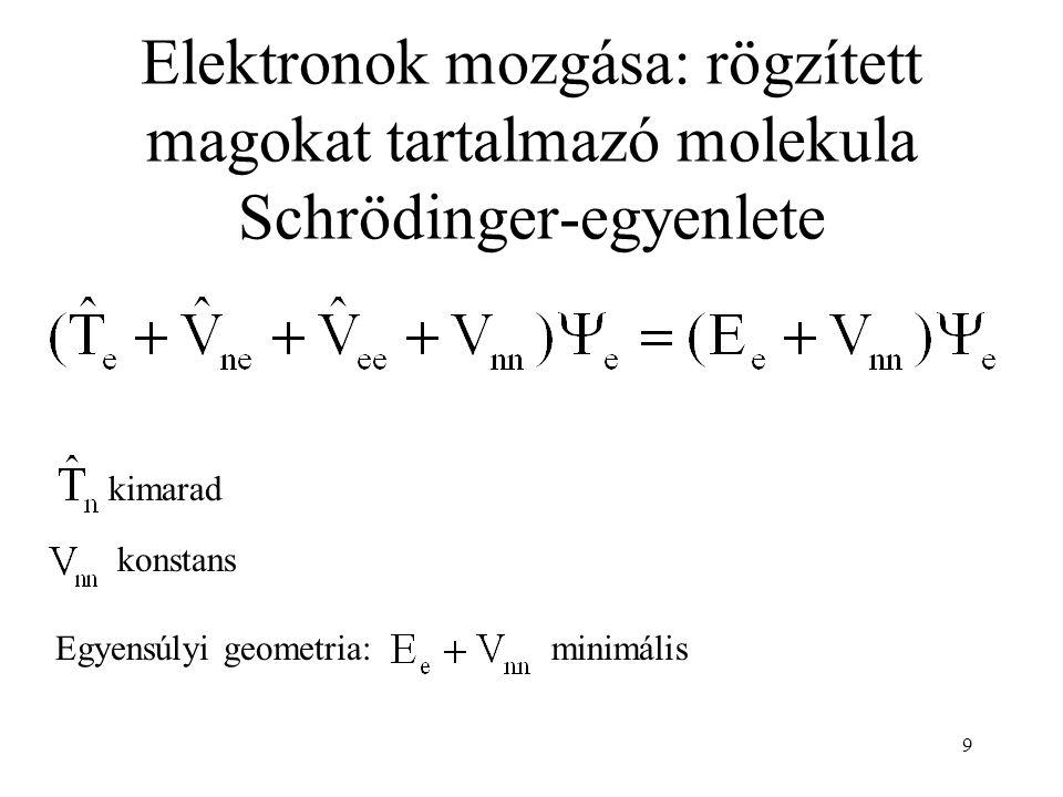 Elektronok mozgása: rögzített magokat tartalmazó molekula Schrödinger-egyenlete kimarad konstans Egyensúlyi geometria:minimális 9