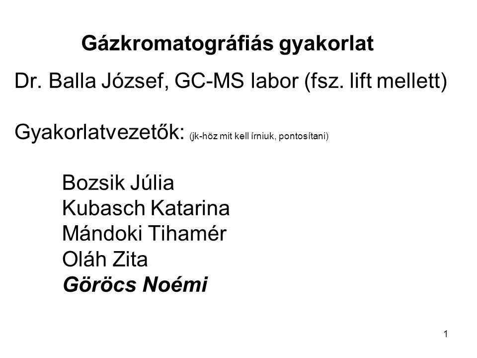 1 Gázkromatográfiás gyakorlat Dr. Balla József, GC-MS labor (fsz. lift mellett) Gyakorlatvezetők: (jk-höz mit kell írniuk, pontosítani) Bozsik Júlia K