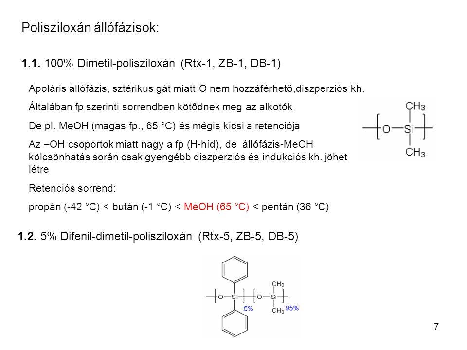 7 Polisziloxán állófázisok: 1.1. 100% Dimetil-polisziloxán (Rtx-1, ZB-1, DB-1) 1.2. 5% Difenil-dimetil-polisziloxán (Rtx-5, ZB-5, DB-5) Apoláris állóf