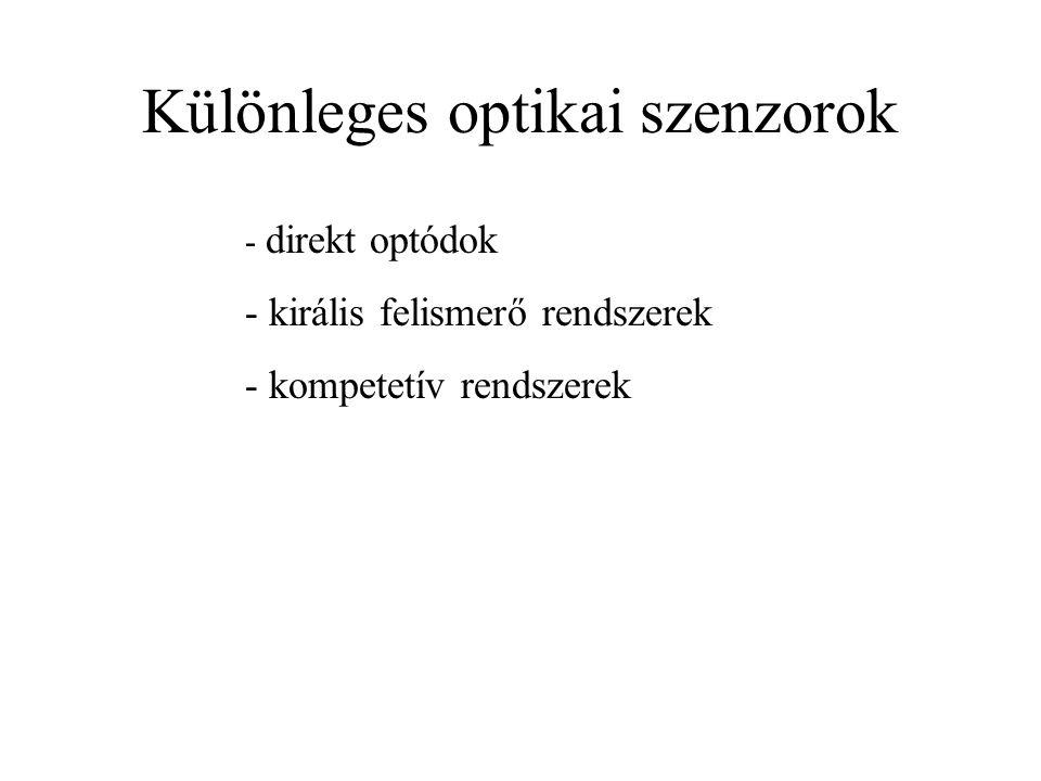 Különleges optikai szenzorok - direkt optódok - királis felismerő rendszerek - kompetetív rendszerek