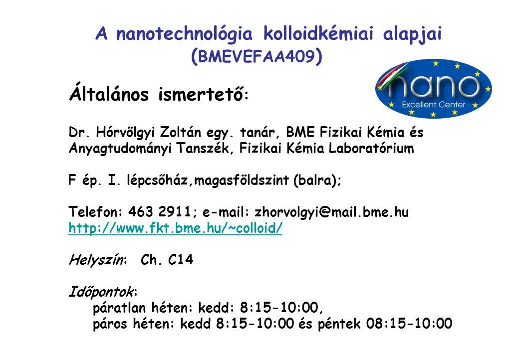 A nanotechnológia kolloidkémiai alapjai ( BMEVEFAA409 ) Általános ismertető : Dr. Hórvölgyi Zoltán egy. tanár, BME Fizikai Kémia és Anyagtudományi Tan