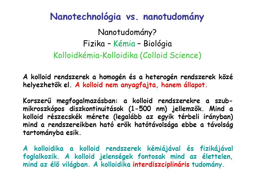 Nanotudomány? Fizika – Kémia – Biológia Kolloidkémia-Kolloidika (Colloid Science) Nanotechnológia vs. nanotudomány A kolloid rendszerek a homogén és a