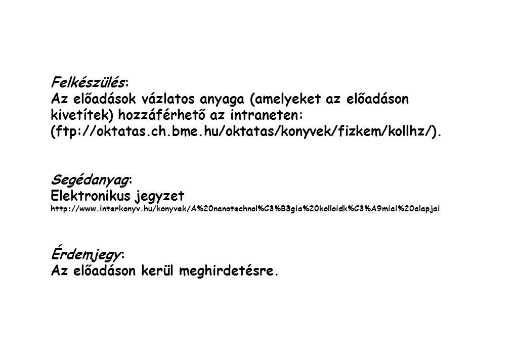 Felkészülés: Az előadások vázlatos anyaga (amelyeket az előadáson kivetítek) hozzáférhető az intraneten: (ftp://oktatas.ch.bme.hu/oktatas/konyvek/fizk