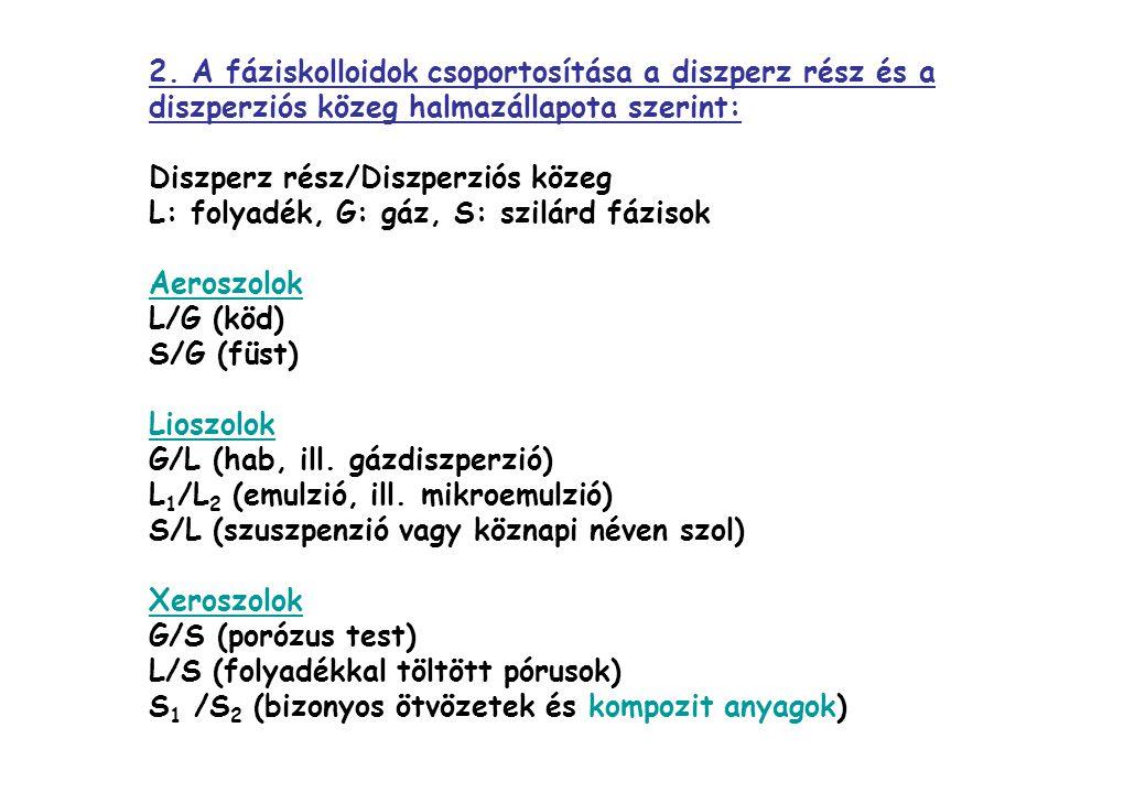 2. A fáziskolloidok csoportosítása a diszperz rész és a diszperziós közeg halmazállapota szerint: Diszperz rész/Diszperziós közeg L: folyadék, G: gáz,