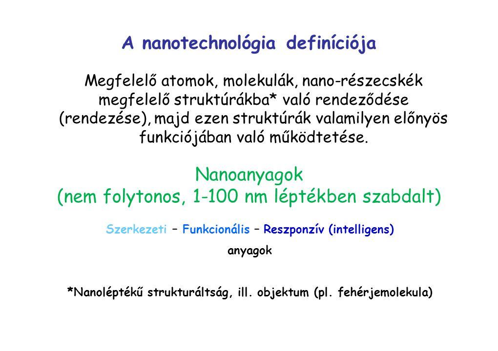 Megfelelő atomok, molekulák, nano-részecskék megfelelő struktúrákba* való rendeződése (rendezése), majd ezen struktúrák valamilyen előnyös funkciójába