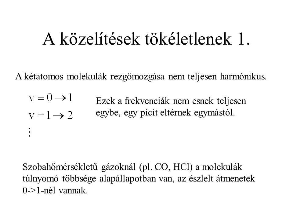 A közelítések tökéletlenek 1. A kétatomos molekulák rezgőmozgása nem teljesen harmónikus.
