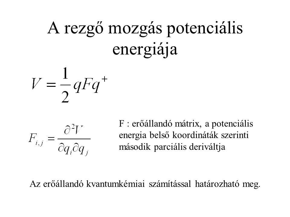 A rezgő mozgás potenciális energiája Az erőállandó kvantumkémiai számítással határozható meg.