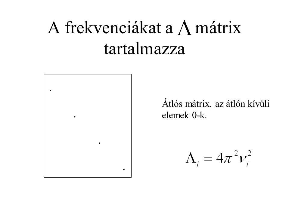 A frekvenciákat a mátrix tartalmazza Átlós mátrix, az átlón kívüli elemek 0-k.