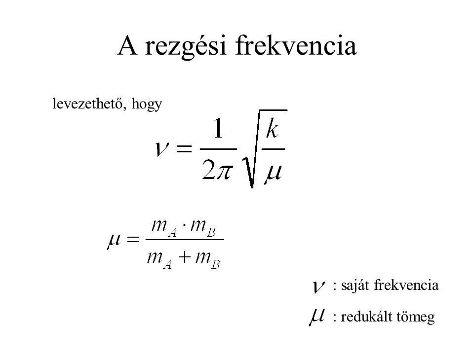 A rezgési frekvencia : saját frekvencia : redukált tömeg levezethető, hogy