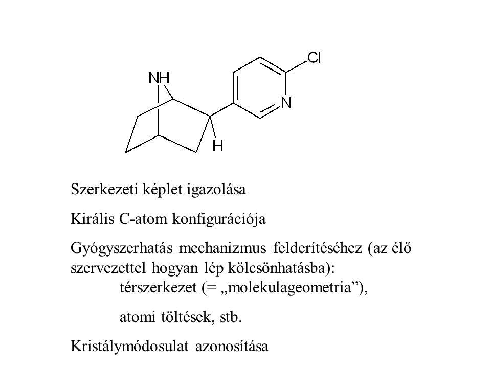 """Szerkezeti képlet igazolása Királis C-atom konfigurációja Gyógyszerhatás mechanizmus felderítéséhez (az élő szervezettel hogyan lép kölcsönhatásba): térszerkezet (= """"molekulageometria ), atomi töltések, stb."""