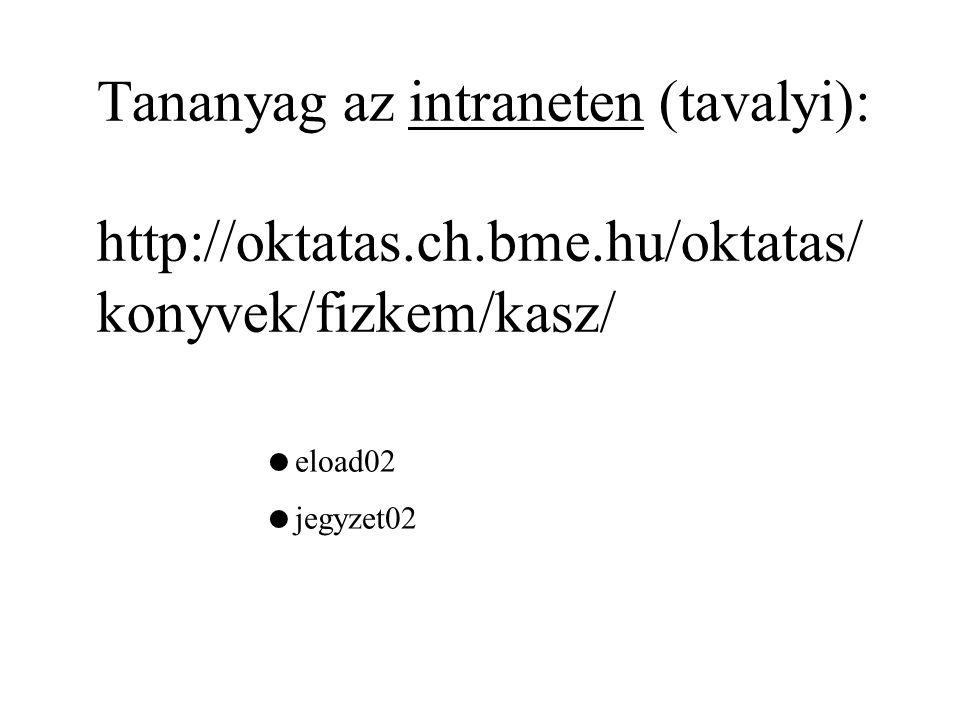 Tananyag az intraneten (tavalyi): http://oktatas.ch.bme.hu/oktatas/ konyvek/fizkem/kasz/  eload02  jegyzet02