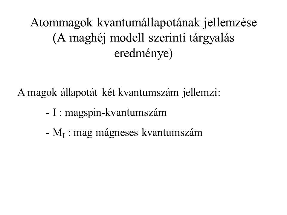 I: magspin-kvantumszám attól függ, hogy a mag rendszáma és tömegszáma páros vagy páratlan.
