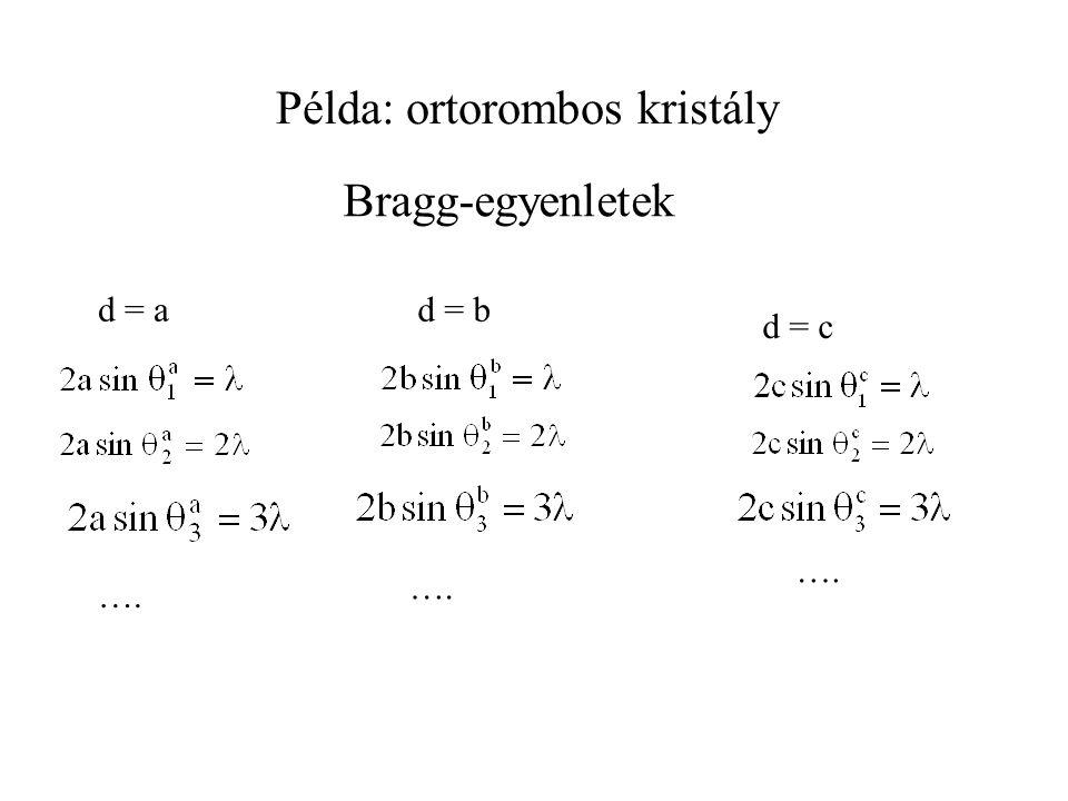 Példa: ortorombos kristály d = a …. d = b d = c …. Bragg-egyenletek