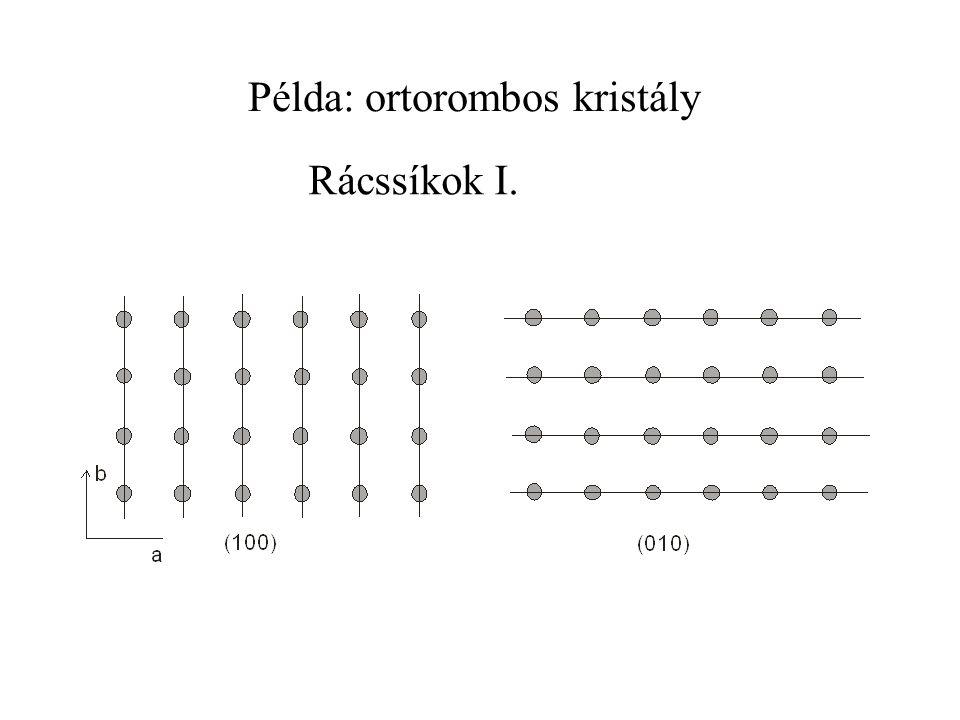 Példa: ortorombos kristály Rácssíkok I.