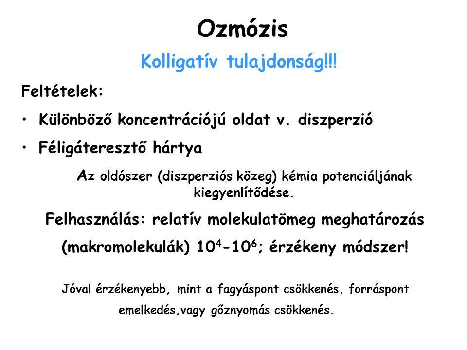 Ozmózis Feltételek: Különböző koncentrációjú oldat v. diszperzió Féligáteresztő hártya A z oldószer (diszperziós közeg) kémia potenciáljának kiegyenlí