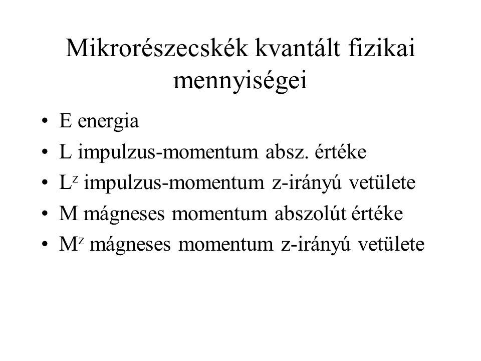 Mikrorészecskék kvantált fizikai mennyiségei E energia L impulzus-momentum absz.