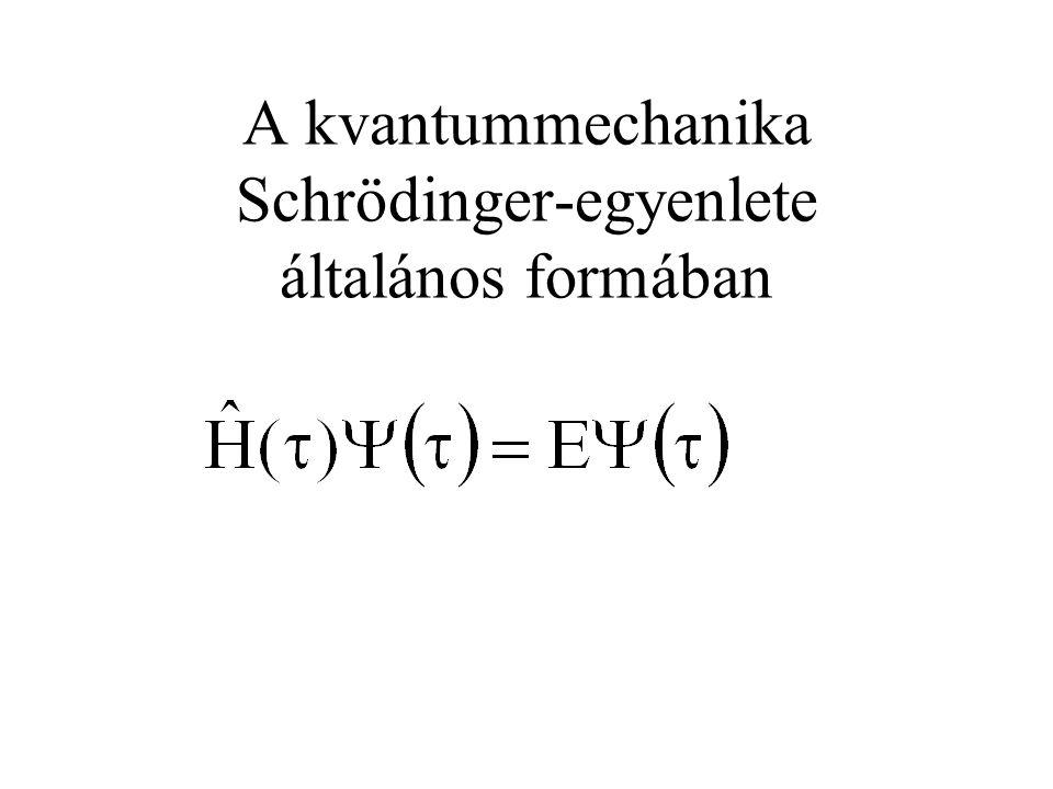 A hidrogénatom Schrödinger-egyenlete Megj.: alsó indexben e és p elektronra és protonra utal, e elemi töltés (1,602x10 -19 C), elektron töltése -e r az elektron protontól való távolsága, vákuum permittivitás (8,854x10 -12 Fm -1 ).